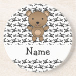 Personalized name bear skulls pattern coaster