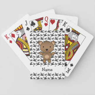 Personalized name bear skulls pattern playing cards