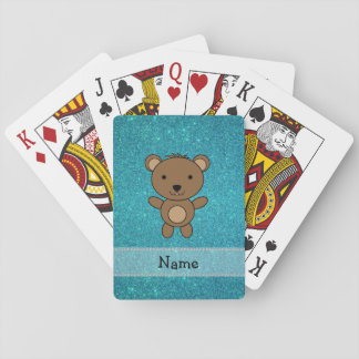 Personalized name bear turquoise glitter poker deck
