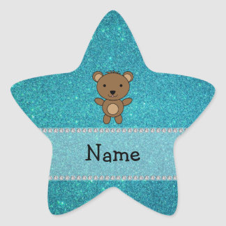 Personalized name bear turquoise glitter star sticker