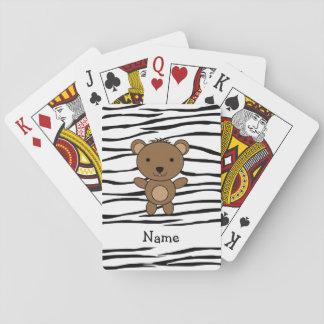 Personalized name bear zebra stripes card decks