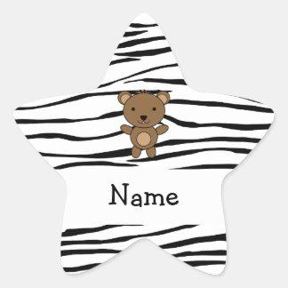 Personalized name bear zebra stripes star sticker