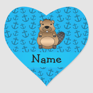 Personalized name beaver blue anchors pattern heart sticker