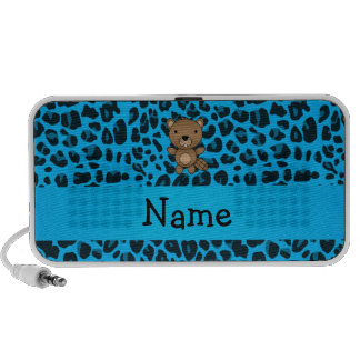 Personalized name beaver blue leopard pattern speaker system