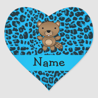 Personalized name beaver blue leopard pattern stickers