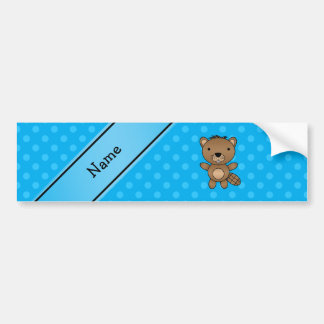 Personalized name beaver blue polka dots bumper sticker