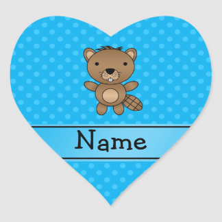 Personalized name beaver blue polka dots sticker