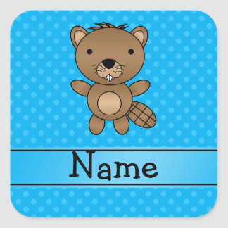 Personalized name beaver blue polka dots stickers