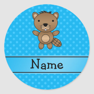 Personalized name beaver blue polka dots round stickers