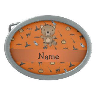 Personalized name beaver halloween pattern belt buckle
