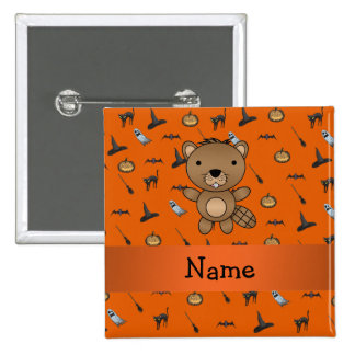 Personalized name beaver halloween pattern 2 inch square button