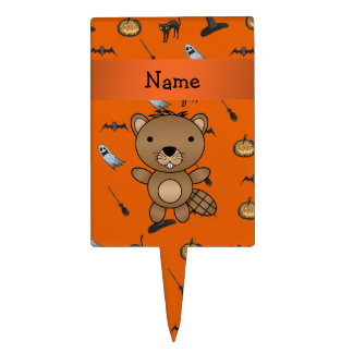 Personalized name beaver halloween pattern cake pick