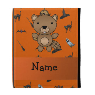 Personalized name beaver halloween pattern iPad cases