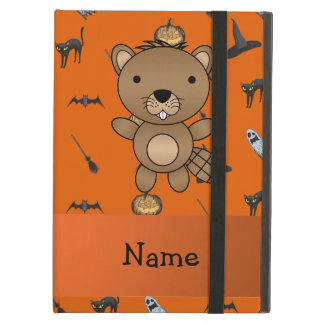 Personalized name beaver halloween pattern iPad cover
