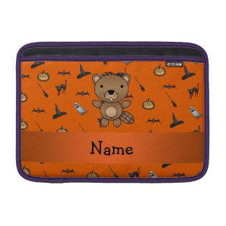 Personalized name beaver halloween pattern MacBook air sleeves
