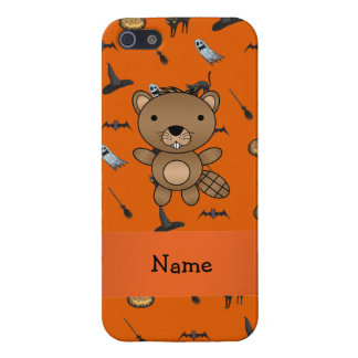 Personalized name beaver halloween pattern cover for iPhone 5