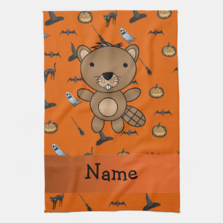 Personalized name beaver halloween pattern hand towels