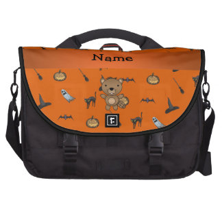 Personalized name beaver halloween pattern laptop computer bag