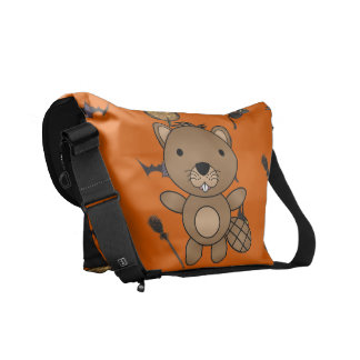 Personalized name beaver halloween pattern messenger bags