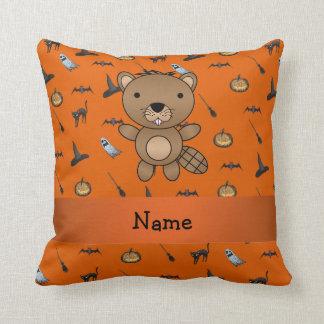 Personalized name beaver halloween pattern throw pillows