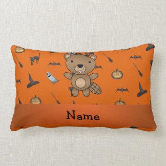 Personalized name beaver halloween pattern throw pillow