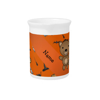 Personalized name beaver halloween pattern drink pitcher
