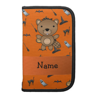 Personalized name beaver halloween pattern planners
