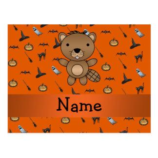 Personalized name beaver halloween pattern postcard