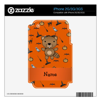 Personalized name beaver halloween pattern iPhone 3GS skins