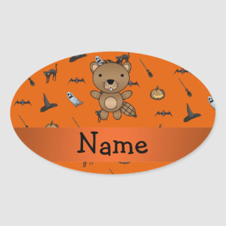 Personalized name beaver halloween pattern oval stickers