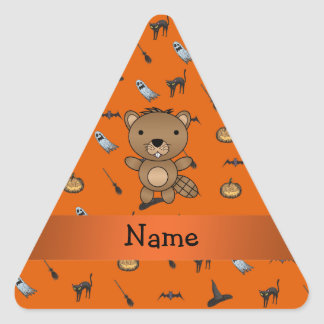 Personalized name beaver halloween pattern triangle sticker