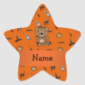 Personalized name beaver halloween pattern stickers