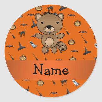 Personalized name beaver halloween pattern round sticker