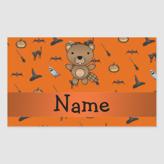 Personalized name beaver halloween pattern sticker