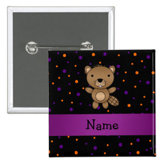 Personalized name beaver halloween polka dots 2 inch square button