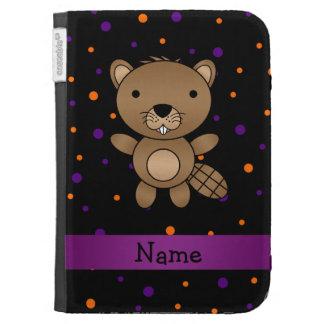 Personalized name beaver halloween polka dots kindle keyboard case
