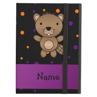Personalized name beaver halloween polka dots iPad folio cases