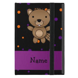 Personalized name beaver halloween polka dots iPad mini cases