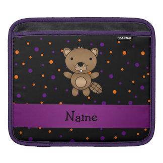 Personalized name beaver halloween polka dots iPad sleeves