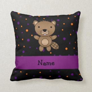 Personalized name beaver halloween polka dots throw pillows