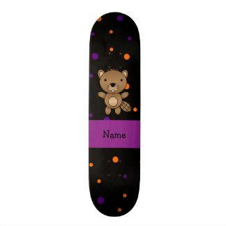 Personalized name beaver halloween polka dots skateboard deck