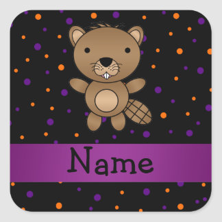 Personalized name beaver halloween polka dots square stickers