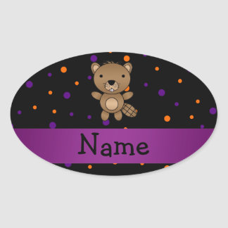 Personalized name beaver halloween polka dots oval sticker