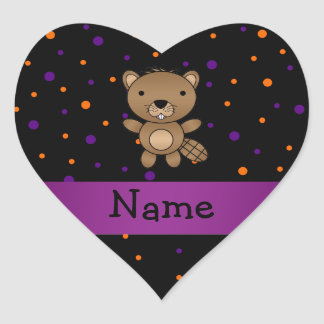 Personalized name beaver halloween polka dots sticker