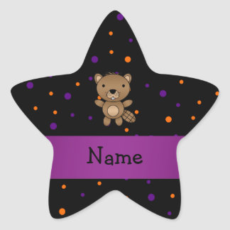 Personalized name beaver halloween polka dots stickers