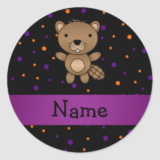 Personalized name beaver halloween polka dots round stickers