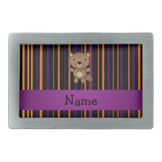 Personalized name beaver halloween stripes rectangular belt buckle