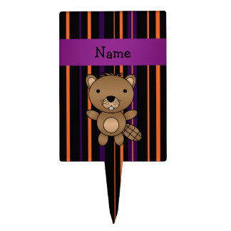 Personalized name beaver halloween stripes cake topper