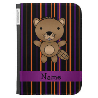 Personalized name beaver halloween stripes kindle folio case