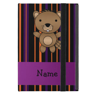 Personalized name beaver halloween stripes cases for iPad mini